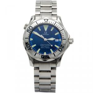 Omega Electric Blue Stainless Steel Seamaster Professional Midsize Watch 36MM