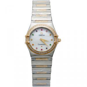 Omega White Mop Diamond & Rainbow Stones Constellation Steel & 18K Yellow Gold Women's Watch 27MM