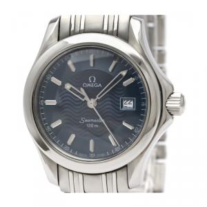 Omega Blue Stainless Steel Seamaster 2571.81 Women's Wristwatch 29MM