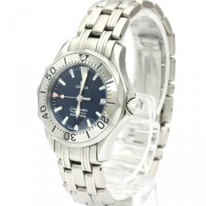 Omega Blue Stainless Steel Seamaster Professional 300M 2283.80 Women's Wristwatch 29 MM