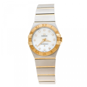 Omega Mother of Pearl 18K Yellow Gold Stainless Steel Diamonds Constellation 123.20.27.60.55.002 Women's Wristwatch 27 mm
