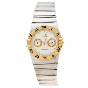 Omega Cream 18K Yellow Gold Stainless Steel Constellation 396.1070 Unisex Wristwatch 33 mm