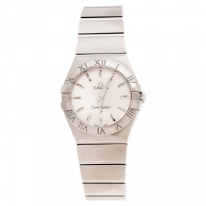 Omega Silver Stainless Steel Constellation 123.10.27.60.02.001 Women's Wristwatch 27 mm
