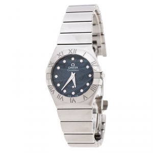 Omega Blue Grey Stainless Steel Diamonds Constellation 123.10.27.60.53.001 Women's Wristwatch 27 mm