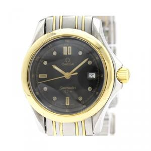 Omega Black 18K Yellow Gold and Stainless Steel Seamaster 120M 2371.50 Women's Wristwatch 29MM