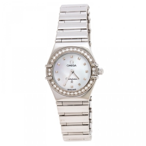 Omega Mother of Pearl Stainless Steel Diamonds My Choice Constellation 8951243 Women's Wristwatch 23 mm