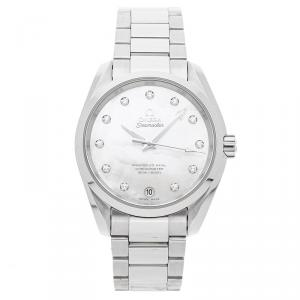 Omega MOP Diamonds Stainless Steel Seamaster Aqua Terra 150M 231.10.39.21.55.002 Women's Wristwatch 38.5