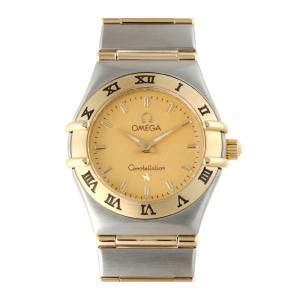 Omega Champagne 18K Yellow Gold and Stainless Steel Constellation Mini 1262.10 Women's Wristwatch 24MM