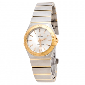 Omega Silver 18K Yellow Gold Stainless Steel Constellation 123.20.27.60.02.002 Women's Wristwatch 27 mm