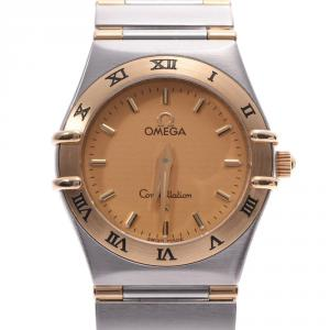 Omega Champagne 18K Yellow Gold And Stainless Steel Constellation 1372.10 Women's Wristwatch 23 MM