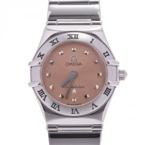 Omega Salmon Stainless Steel Constellation Mini My Choice 1561.51 Women's Wristwatch 21 MM