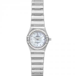 Omega MOP Diamonds 18K White Gold Constellation My Choice 1466.71.00 Women's Wristwatch 22.5 MM