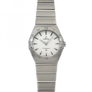 Omega Silver Stainless Steel Constellation Manhattan 131.10.28.60.02.001 Women's Wristwatch 28 MM