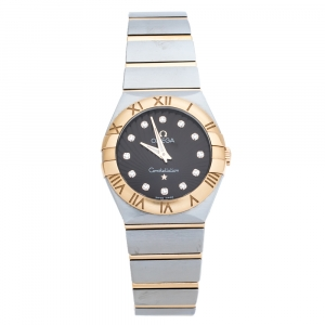 Omega Brown 18K Rose Gold Stainless Steel Diamond Constellation 123.20.27.60.63.001 Women's Wristwatch 27 mm