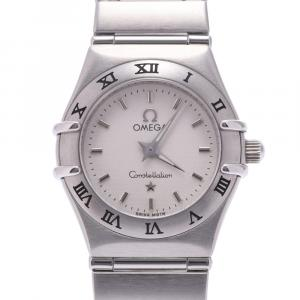 Omega White Stainless Steel Constellation Quartz Women's Wristwatch 26 MM