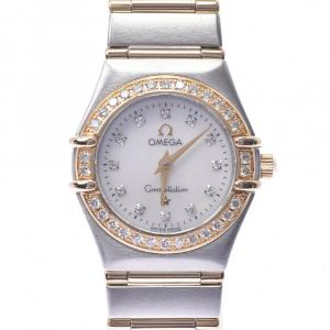 Omega White Diamonds Yellow Gold And Stainless Steel Constellation 1267.75 Women's Wristwatch 22 MM