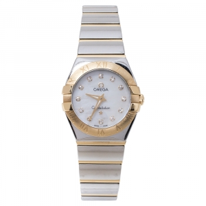 Omega Mother Of Pearl 18K Yellow Gold Stainless Steel Diamond Constellation 795.1002 Women's Wristwatch 24 mm