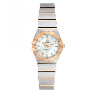 Omega MOP 18K Rose Gold And Stainless Steel Constellation 123.20.24.60.05.001 Women's Wristwatch 24 MM