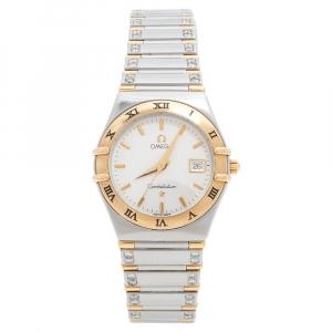 Omega  Silver White 18K Yellow Gold Stainless Steel Diamond Constellation 796.1201 Women's Wristwatch 27.50 mm
