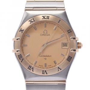 """ساعة يد نسائية أوميغا """"كونستلاشون 1212.10.00"""" ستانلس ستيل و ذهب أصفر عيار 18 شامبانيا 33 مم"""