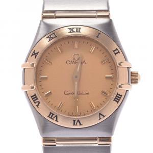 """ساعة يد نسائية أوميغا """"كونستلاشون 1272.1 كوارتز"""" ستانلس ستيل و ذهب أصفر عيار 18 شامبانيا 22 مم"""