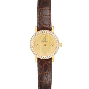 Omega Champagne Diamonds 18K Yellow Gold DeVille 1450 Women's Wristwatch 18.5 MM