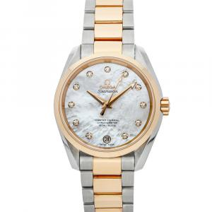 Omega MOP Diamonds 18K Rose Gold And Stainless Steel Seamaster Aqua Terra 150m 231.20.39.21.55.003 Women's Wristwatch 38.5 MM