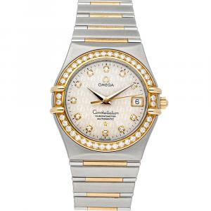 Omega White Diamonds 18K Yellow Gold And Stainless Steel Constellation 1308.35.00 Women's Wristwatch 35.5 MM