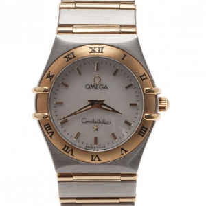 Omega White 18K Yellow Gold & Stainless Steel Constellation Women's Wristwatch 30MM