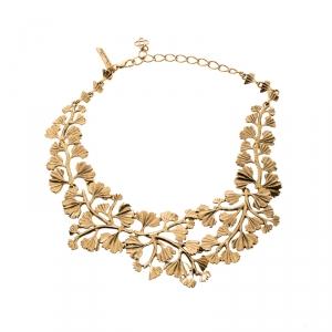 Oscar De La Renta Fern Gold Tone Collar Statement Necklace