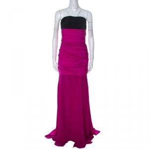 Oscar de la Renta Magenta Pink Silk Ruched Drop Waist Corsetted Bodice Strapless Gown L