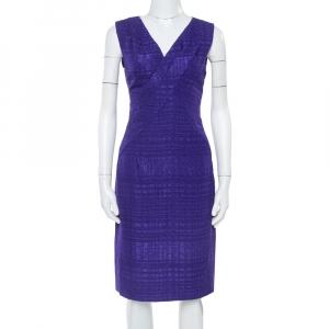 Oscar de la Renta Purple Textured Sheath Dress M