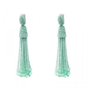 Oscar De La Renta Sea Green Beaded Tassel Long Clip-on Earrings