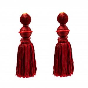 Oscar de la Renta Marsala Red Silk Tassel Gold Tone Clip-on Earrings
