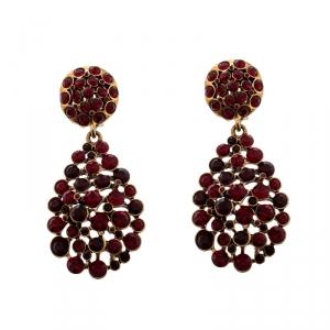 Oscar de la Renta Red Crystal Gold Tone Clip-on Drop Earrings