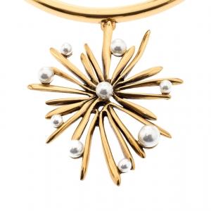 Oscar De La Renta Sunburst Faux Pearl Gold Tone Pendant Necklace