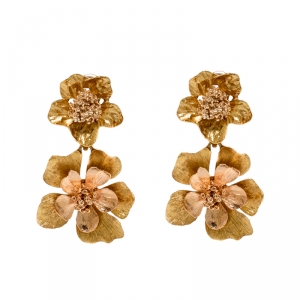 Oscar de la Renta Flower Two Tone Clip-on Drop Earrings