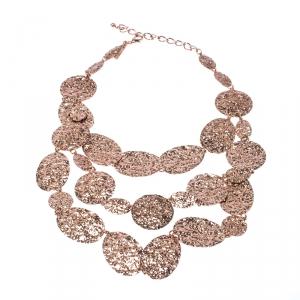 Oscar de la Renta Hammered Rose Gold Tone Motif Chain Link Layered Necklace