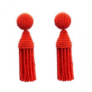 Oscar de la Renta Orange Beaded Short Tassel Clip On Earrings