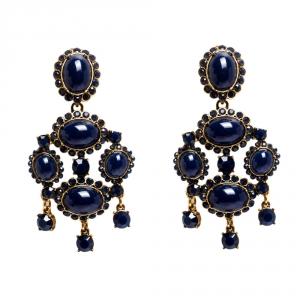 Oscar de la Renta Blue Resin Gold Tone Chandelier Clip-on Earrings