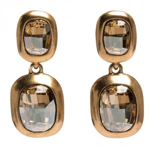 Oscar de la Renta Crystal Bronze Tone Clip-on Drop Earrings