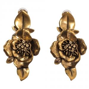 Oscar de la Renta Flower Crystal Gold Tone Clip-on Drop Earrings