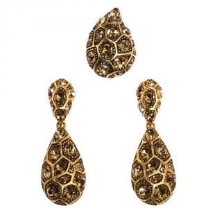 Oscar de la Renta Crystal Embellished Gold Tone Clip-on Drop Earrings & Ring Set