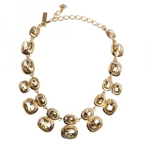 Oscar de la Renta Crystal Embellished Gold Tone Necklace