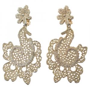 Oscar de la Renta Gold Filigree Floral Clip On Earrings