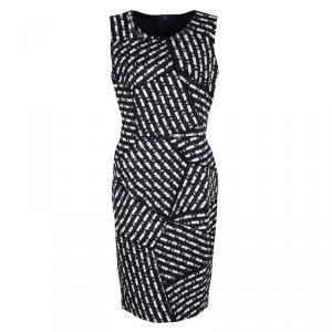 Oscar De La Renta Multicolor Textured Patch Detail Sleeveless Dress M - used