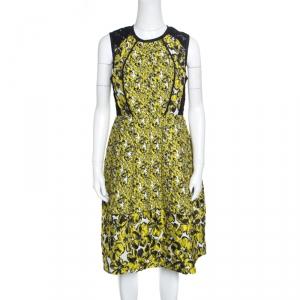 Oscar de la Renta Yellow and Black Embossed Floral Jacquard Lace Detail Dress L - used