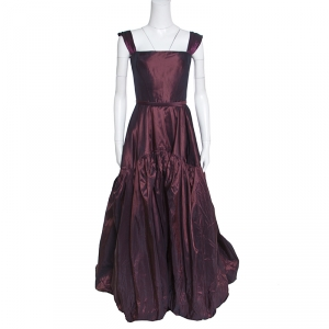 Oscar de la Renta Burgundy Silk Tiered Belted Sleeveless Gown S used