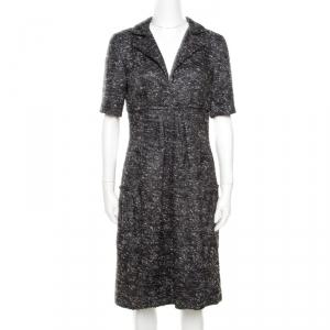 Oscar de la Renta Grey Textured Lurex Plunge Neck Detail Short Sleeve Dress M - used
