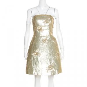 Oscar de la Renta Matte Gold Sequin Embellished Strapless Mini Dress S - used